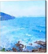 Ocean Coastline Watercolor Canvas Print