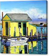 Old Crab Yellow Shacks Of Tangier Island Canvas Print