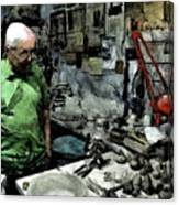 Old Craftsman Portrait In The Laboratory Canvas Print