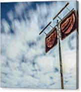 Old Rustic Fuel Station Sign In The Countryside Canvas Print