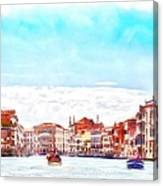 On A Boat Trip On The Grand Canal In The Beautiful City Of Venice In Italy Canvas Print