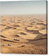 One 4x4 Vehicle Off-roading In The Red Sand Dunes Of Dubai Emirates, United Arab Emirates Canvas Print