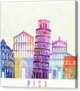 Barcelona Landmarks Watercolor Poster Canvas Print