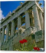 Parthenon With Poppies Canvas Print