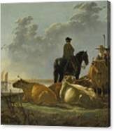 Peasants And Cattle By The River Merwede Canvas Print