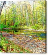 Pennsylvania Stream In Autumn, Digital Art Canvas Print
