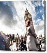 People Crossing In Central London Canvas Print