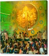 People Enjoying Inside Durga Puja Pandal Durga Puja Festival Canvas Print