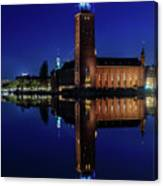 Perfect Stockholm City Hall Blue Hour Reflection Canvas Print