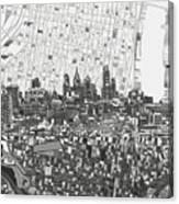 Philadelphia Skyline Map 4 Canvas Print