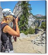Photographer In Yosemite Waterfalls Canvas Print