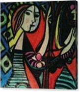 Picasso's Girl Beside A Mirror Canvas Print