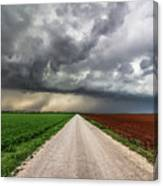 Pick A Side - Colorful Fields Divided By Road On Stormy Day In Oklahoma. Canvas Print