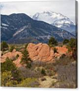 Pikes Peak From Red Rocks Canyon Canvas Print
