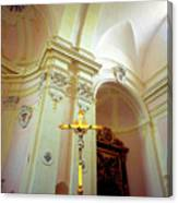 Pink Cathedral With Gold Cross Canvas Print