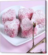 Pink Heart Shape Small Lamington Cakes Canvas Print
