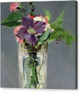 Pinks And Clematis In A Crystal Vase Canvas Print
