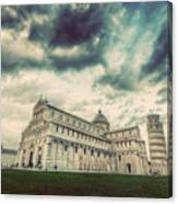 Pisa Cathedral With The Leaning Tower Of Pisa, Tuscany, Italy. Vintage Canvas Print