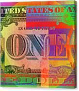 Pop-art Colorized One U. S. Dollar Bill Reverse Canvas Print