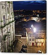 Porto By Night In Portugal Canvas Print