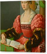 Portrait Of A Woman With A Book Of Music Canvas Print