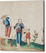 Portraying The Chinese Tea Traders Canvas Print