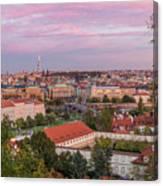 Prague Skyline At Sunset Canvas Print
