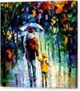 Rainy Walk With Daddy Canvas Print