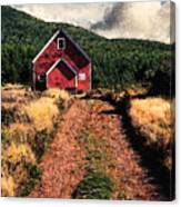 Red Barn Road Canvas Print