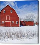 Red Barn, Winter, Grande Pointe Canvas Print