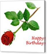 Red Rose Happy Birthday  Canvas Print