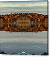 Mirrored Panoramic, Reflecting Fall  From The Banks Of  Bishop Pond Canvas Print