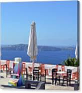 Restaurant By The Aegean Sea  In Santorini, Greece  Canvas Print