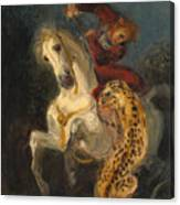 Rider Attacked By A Jaguar Canvas Print