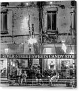River Street Sweets Candy Store Black White  Canvas Print