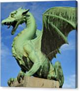 Roaring Winged Dragon Sculpture Of Green Sheet Copper Symbol Of  Canvas Print