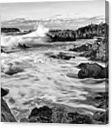 Rocky Asilomar Beach In Monterey Bay At Sunset. Canvas Print