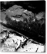 Rocky Mountains In Colorado With Snow Aerial Black And White Canvas Print