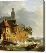 Rowing Boat In Stormy Seas Near A City Canvas Print
