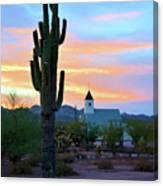 Saguaro Cactus And Church Canvas Print