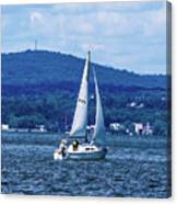 Sail Boat On The Hudson River Canvas Print
