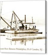 Salvage Barge, Delaware River, Philadelphia, C.1900 Canvas Print