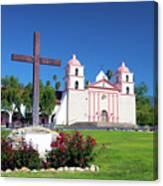 Santa Barbara Mission And Cross Canvas Print