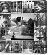 Savannah Collage Black And White Canvas Print