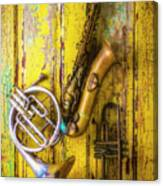 Sax French Horn And Trumpet Canvas Print