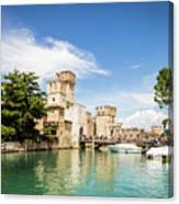 Scaligero Castle At The Entrence Of The Sirmione Medieval Town Canvas Print