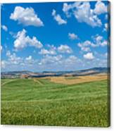Scenic Tuscany Landscape With Rolling Hills In Val D'orcia, Ital Canvas Print