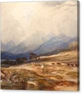 Scottish Landscape With Drover And Cattle Canvas Print