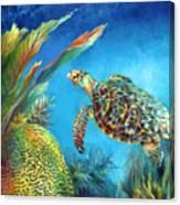 Sea Escape Iv - Hawksbill Turtle Flying Free Canvas Print