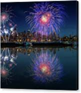 Seattle Skyline And Fireworks Canvas Print